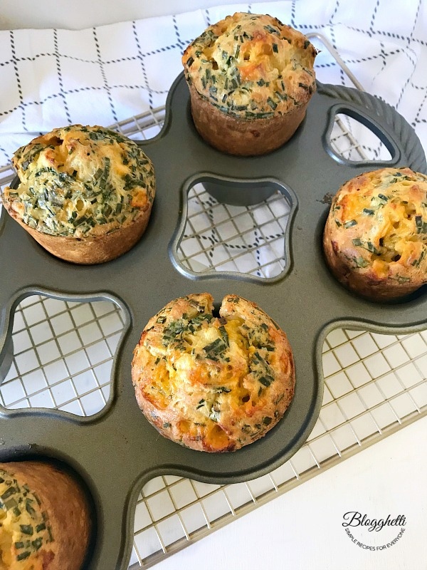 Cheddar and Chive Popovers in pan