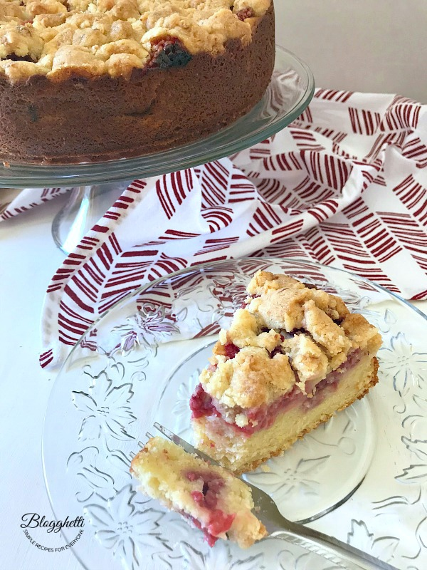 Lemon Raspberry Crumb Cake with slice and fork