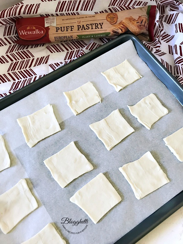 Pastry Puff dough cut into rectangles