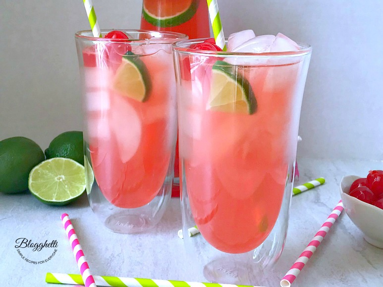 Homemade Cherry Limeade in JoyJolt Spike Double Wall Cocktail Glasses