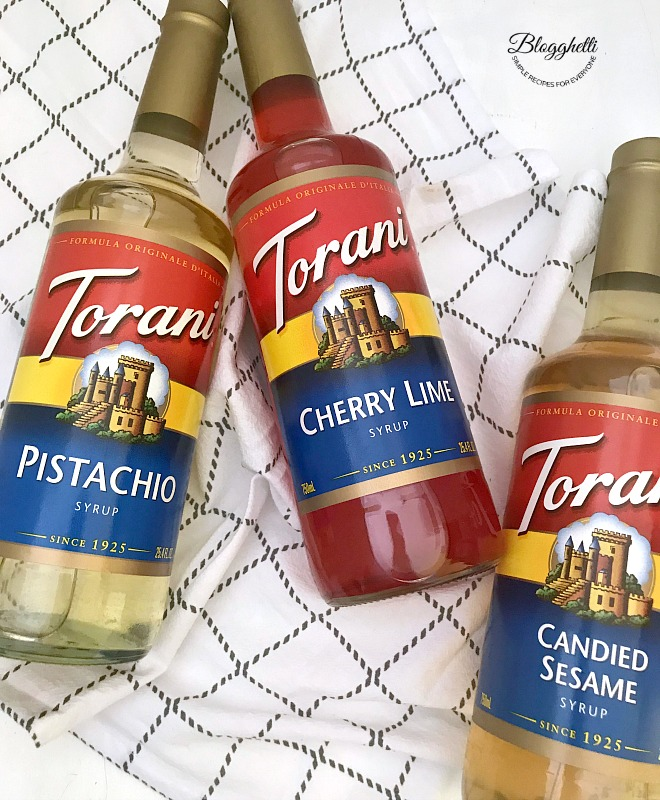 Torani flavor syrups - cherry limeade, pistachio, and candied sesame