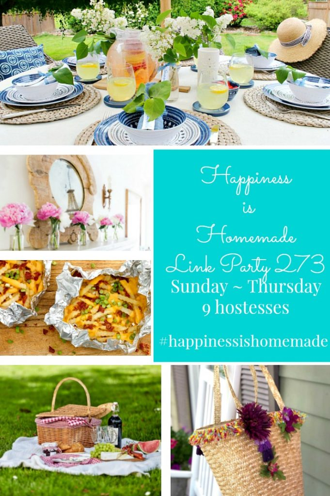 Happiness is Homemade Link Party 273. Link party to share DIY, crafts, home decor, tablescapes and recipes. Sunday ~ Thursday. 9 Hostesses. 5 features. #happinessishomemadelinkparty #linkparty#sundaylinkparty