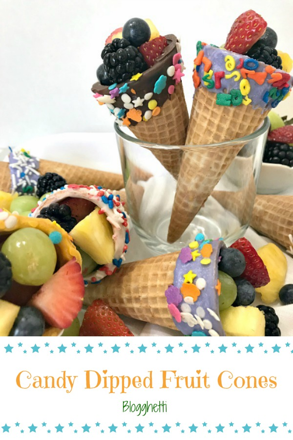 Candy Dipped Fruit Cones - pin