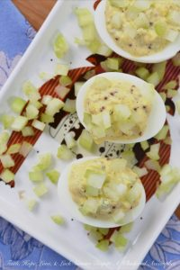 Celery and Whole Mustard Deviled Eggs